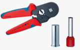 Crimping tool, ferrules, cord-end-sleeves